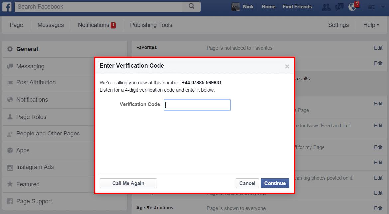 Facebook Verification