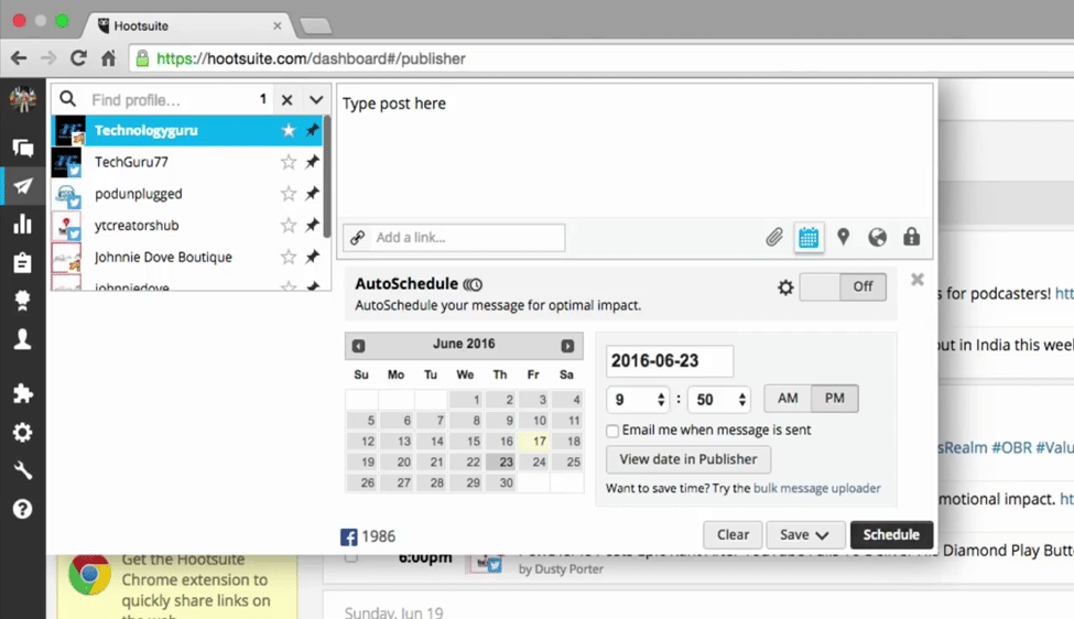 How to Schedule a Post via HootSuite Step 3
