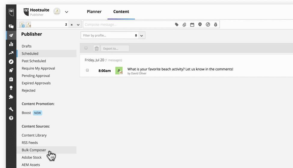 Scheduling posts in bulk Hootsuite